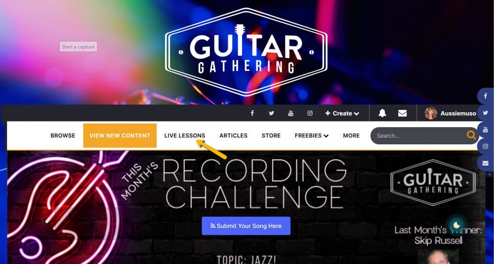the live guitargathering lessons
